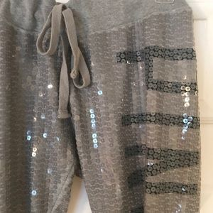PINK gray sequin joggers.